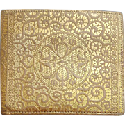 Vintage Gold Embossed Leather Wallet Made in Italy
