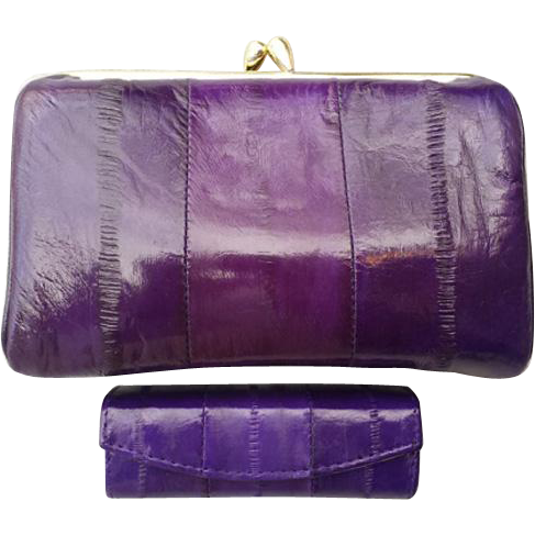 Vintage Purple Eel Skin Purse & Matching Lipview Lipstick Holder Lip View with Mirror