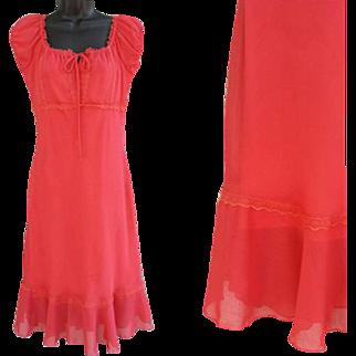 Vintage Coral Chiffon Short Sleeve Dress Size 11 - 12 Medium Jody of California Unworn