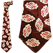 1940s Man's Silky Rayon Necktie Brown Golden Cream Brick Red Vintage Cravat
