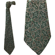 1930s - 1940s Dark Green Necktie Depression Era Clothing Neck Tie