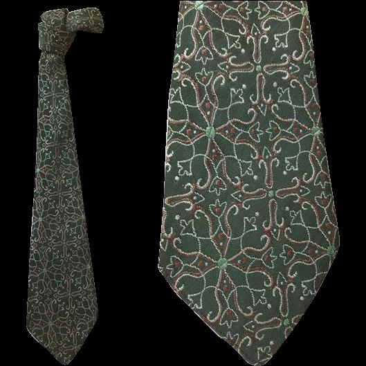 1930s - 1940s Dark Green Necktie Depression Era Clothing Neck Tie