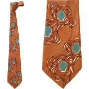 Men's Vintage Brown and Teal Silk Jacquard Neck Tie Late 1940s