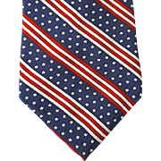Patriotic Silk Jacquard Necktie Red White Blue Stripes and Stars