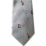 Vintage Men's Novelty Necktie Mickey Mouse Golf Disney Gray
