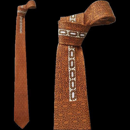 1960s Vintage Narrow Necktie  Brown Black Classy
