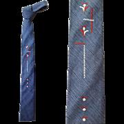 1960s Square Bottom Skinny Silk Necktie Blue Shantung