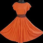 Fabulous 1950s Cotton Sateen Dress Circle Skirt + Size Small
