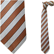Vintage Givenchy Silk Necktie Gray Brown Regimental Stripe Italy