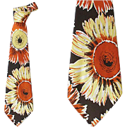 Wide Vintage Necktie 1940s - 1950s Sunflower by Hollyvogue California Classics