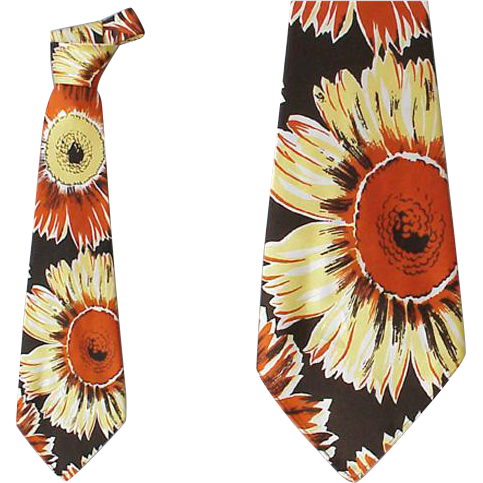 Wide Vintage Necktie 1930s - 1940s Sunflower by Hollyvogue California Classics