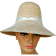 1950s - 1960s Italian Straw Beach Bucket Hat Mint Summer Sun Hats