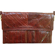 Vintage  Long Burgundy Eel Skin Purse Leather Handbag