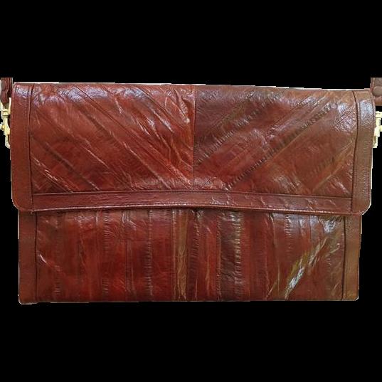 Vintage  Long Burgundy Eel Skin Purse Leather Handbag