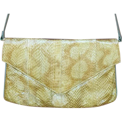 Vintage Original Snakeskin Leather Shoulder Bag or Clutch Purse J. Renee'