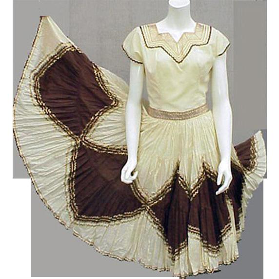 1960s Southwest Patio Set Blouse with Skirt Arizona Party Size Small