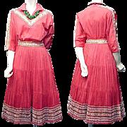1960s Coral Cotton Patio Set Blouse and Skirt Southwest Arizona Size Large Bust 38