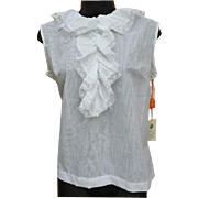 1970s Vintage Blouse White on White Lace Size Medium to Large NOS