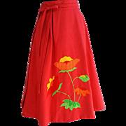 Vintage Reversible Wrap Skirt Poppies and Polka Dots Adjustable Medium - Large