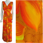Hawaiian Evening Gown Evelyn Margolis for Hilo Hattie Patio Dress Medium - Large
