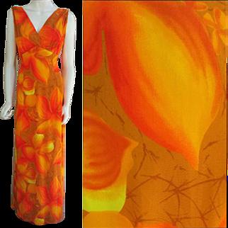 Hawaiian Evening Gown Evelyn Margolis for Hilo Hattie Medium - Large