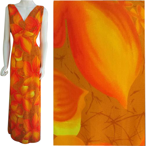 Hawaiian Evening Gown Evelyn Margolis for Hilo Hattie Patio Dress Medium - Large