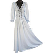Vintage Soft Blue Olga Nightgown with Sleeves Size Small