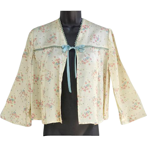 1940s Satin Bed Jacket Feminine Floral Rose Medium - Large
