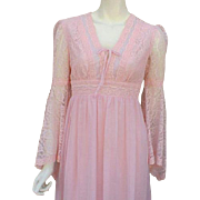 1970s Renaissance Revival Dress Pink Princess Gown Size Medium