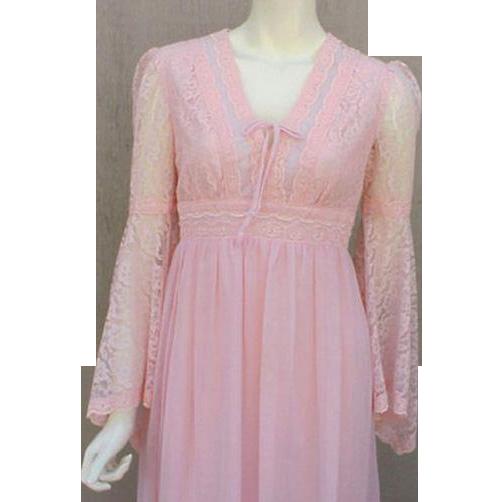 1970s Renaissance Revival Dress Pink Princess Gown Size Medium
