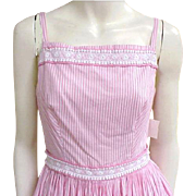 1960s Vintage Pink Cotton Sun Dress Lots of Lace Extra Small Size