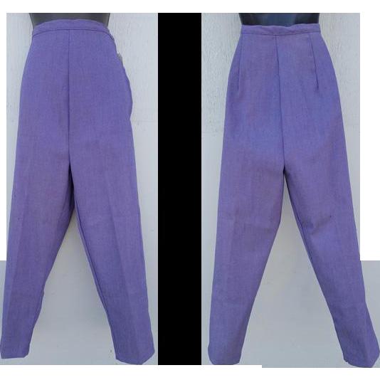 1960s Original Women's Skinny Stretch Jeans / Pants Purple Denim Size Small