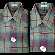 Men's 1960s Rayon Dress Shirt Deadstock Long Sleeve Size Small