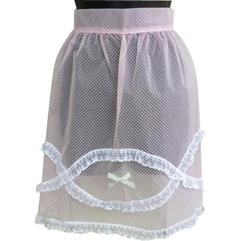 1960s Pink Nylon Hostess Apron Dotted Swiss with Lace Small Medium