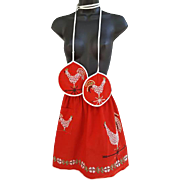 1950s Chicken & Rooster Apron Matching Hot Pads S, M, L,
