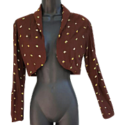 1930s Embroidered Rayon Crepe Bolero Jacket Extra Small