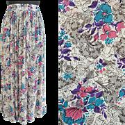 1940s Rayon Skirt Semi Sheer Novelty Print Medium - Large