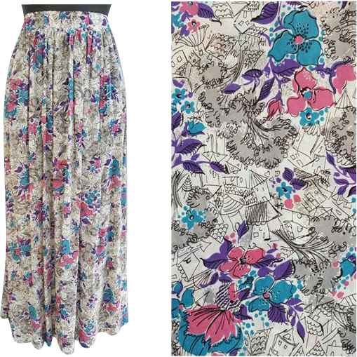 1940s Rayon Skirt Semi Sheer Novelty Print Medium - Large