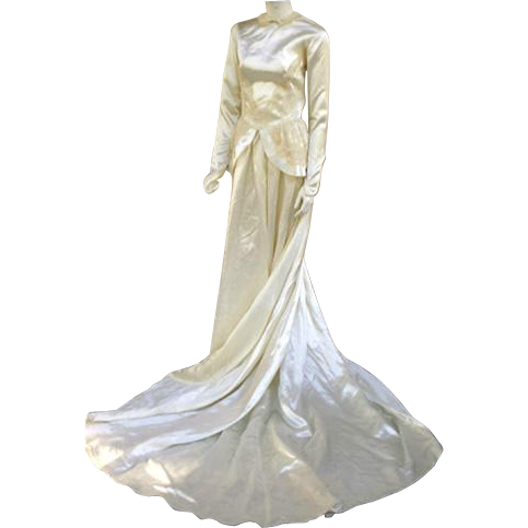 1940s Bridal Satin Wedding Gown Cathedral Train Size Small Dress