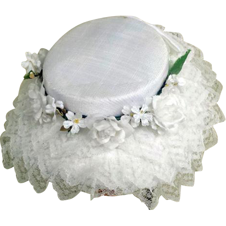 1960s Hat Child Little Girl Sunday Flower Girl Lace with Flowers