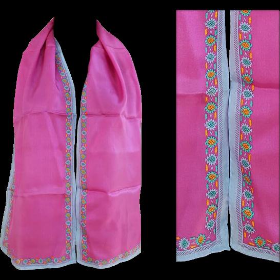 Vintage Silk Scarf Anne Klein Long Rectangle Deep Pink