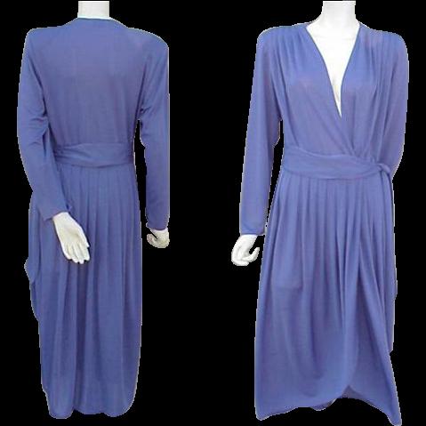 1970s Slinky Vintage Dress Daring Neckline Sweet Purple Size Medium