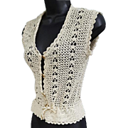 Vintage Crochet Vest Fancy Fun Size Extra Small