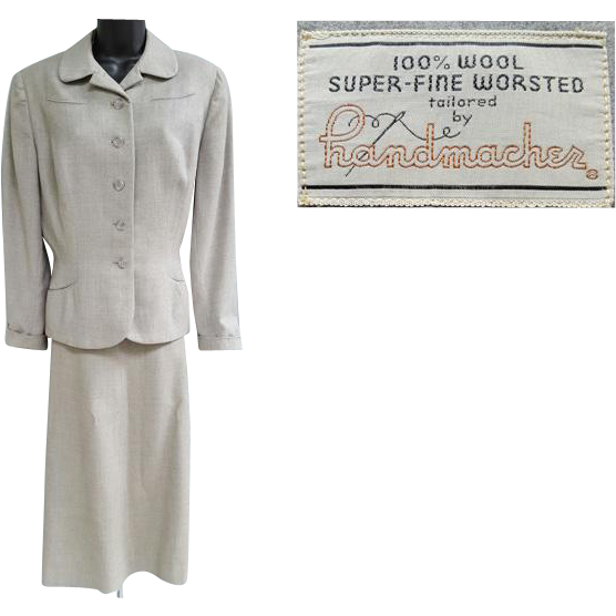 1940s Women's Wool Suit Size Large Fine Wool Tweed