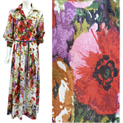 1970s Floor Length Dress Flamboyant Floral Bust 38 Size Large