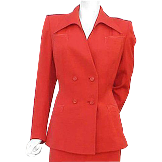 1940s Women's Gabardine Suit Size Large Target Red