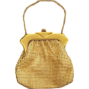 Vintage 1940s Whiting Davis Purse Gold Metal Bead Mesh