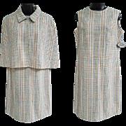 1970s Suit Dress Short Cape Unworn with Original Tags Size Large.