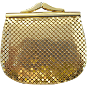 Vintage Whiting Davis Coin Purse Gold Metal Mesh - Red Tag Sale Item