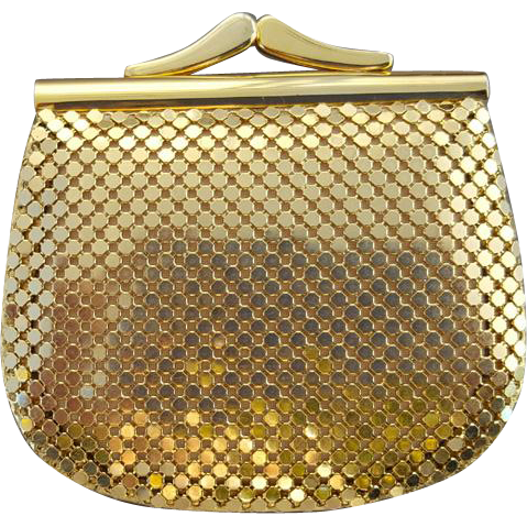 Vintage Whiting Davis Coin Purse Gold Metal Mesh